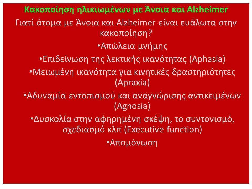 Κακοποίηση ηλικιωμένων με Άνοια και Alzheimer
