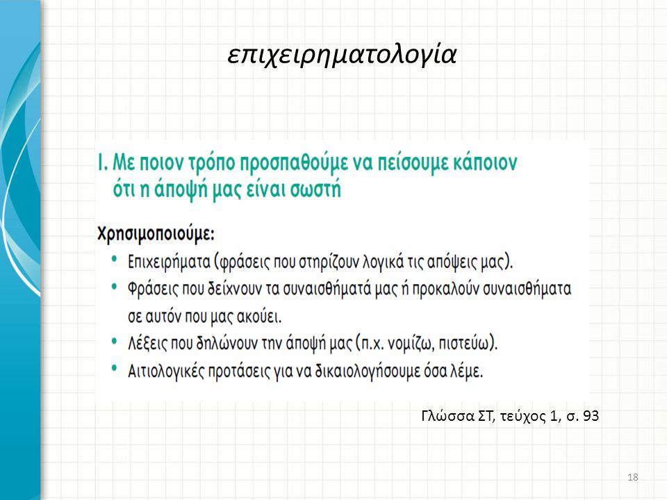 επιχειρηματολογία Γλώσσα ΣΤ, τεύχος 1, σ. 93