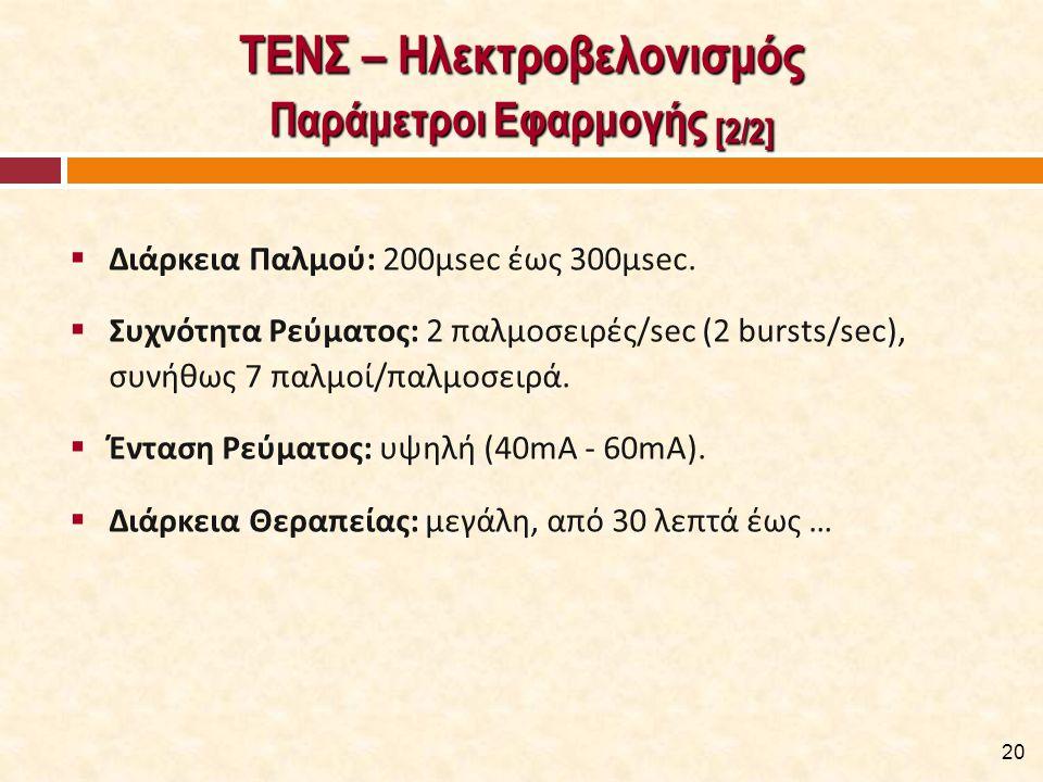 ΤΕΝΣ – Ηλεκτροβελονισμός Ενδείξεις - Εφαρμογές