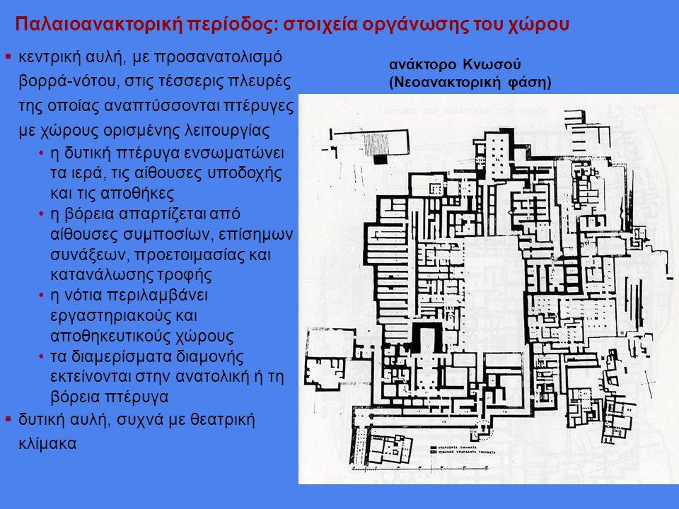 Παλαιοανακτορική περίοδος: στοιχεία οργάνωσης του χώρου