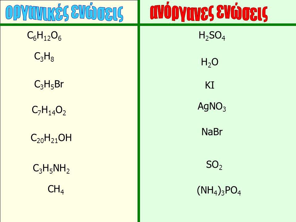 οργανικές ενώσεις ανόργανες ενώσεις C6H12O6 H2SO4 C3H8 H2O C3H5Br KI