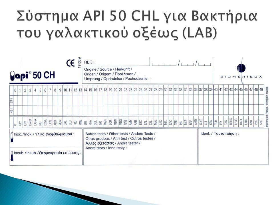 Σύστημα API 50 CHL για Βακτήρια του γαλακτικού οξέως (LAB)