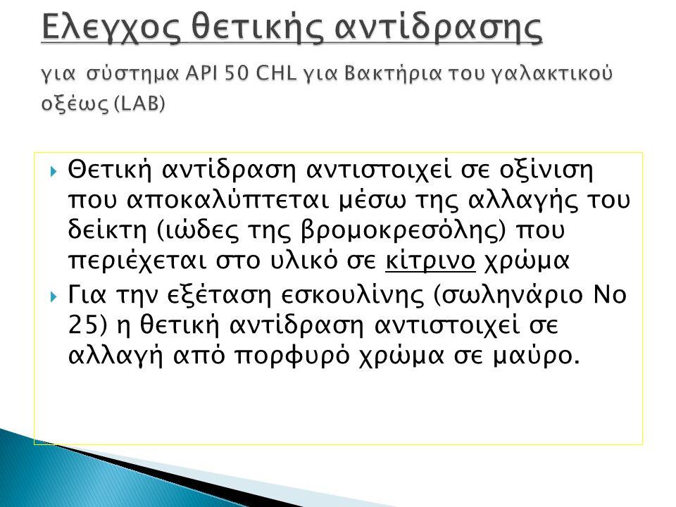 Ελεγχος θετικής αντίδρασης για σύστημα API 50 CHL για Βακτήρια του γαλακτικού οξέως (LAB)