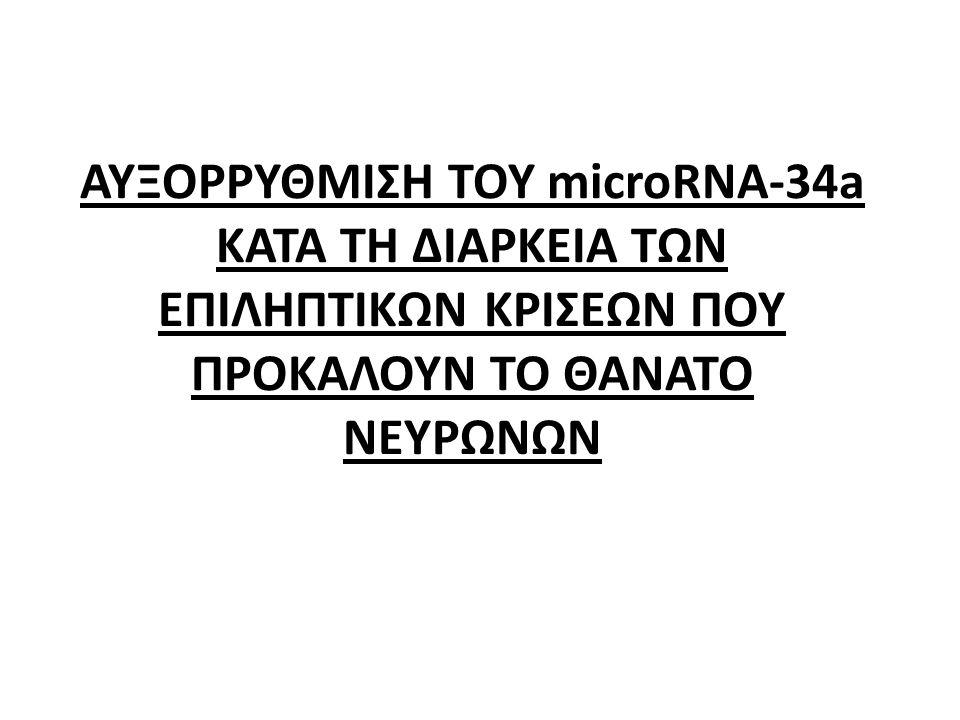 ΑΥΞΟΡΡΥΘΜΙΣΗ ΤΟΥ microRNA-34a ΚΑΤΑ ΤΗ ΔΙΑΡΚΕΙΑ ΤΩΝ ΕΠΙΛΗΠΤΙΚΩΝ ΚΡΙΣΕΩΝ ΠΟΥ ΠΡΟΚΑΛΟΥΝ ΤΟ ΘΑΝΑΤΟ ΝΕΥΡΩΝΩΝ