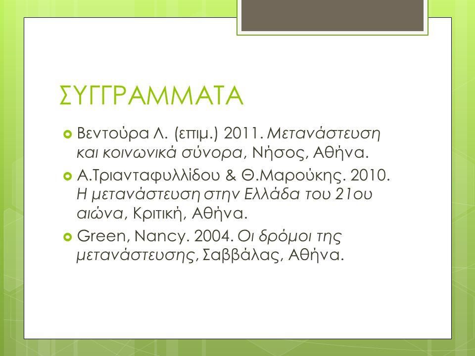 ΣΥΓΓΡΑΜΜΑΤΑ Βεντούρα Λ. (επιμ.) 2011. Μετανάστευση και κοινωνικά σύνορα, Νήσος, Αθήνα.