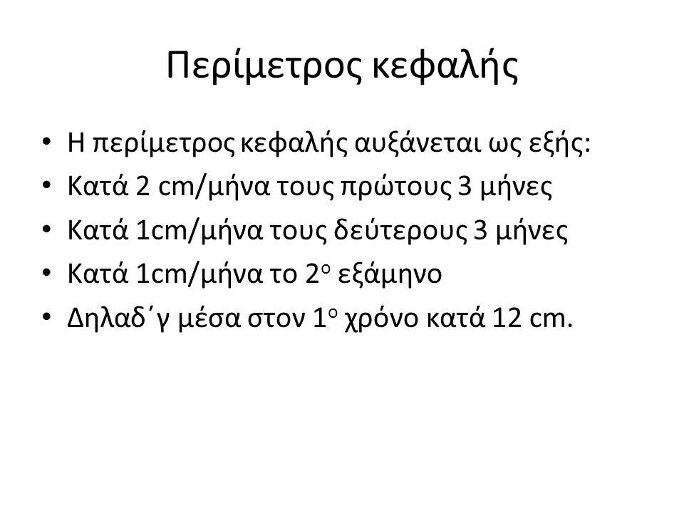 Περίμετρος κεφαλής Η περίμετρος κεφαλής αυξάνεται ως εξής: