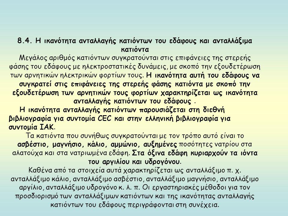 8.4. Η ικανότητα ανταλλαγής κατιόντων του εδάφους και ανταλλάξιμα κατιόντα