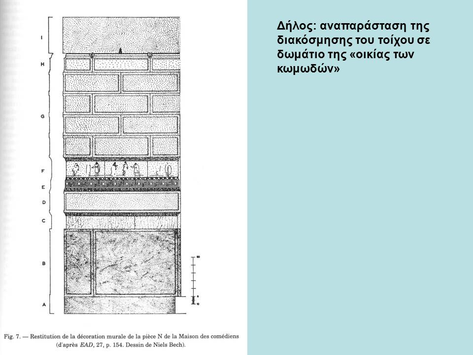 Δήλος: αναπαράσταση της διακόσμησης του τοίχου σε δωμάτιο της «οικίας των κωμωδών»