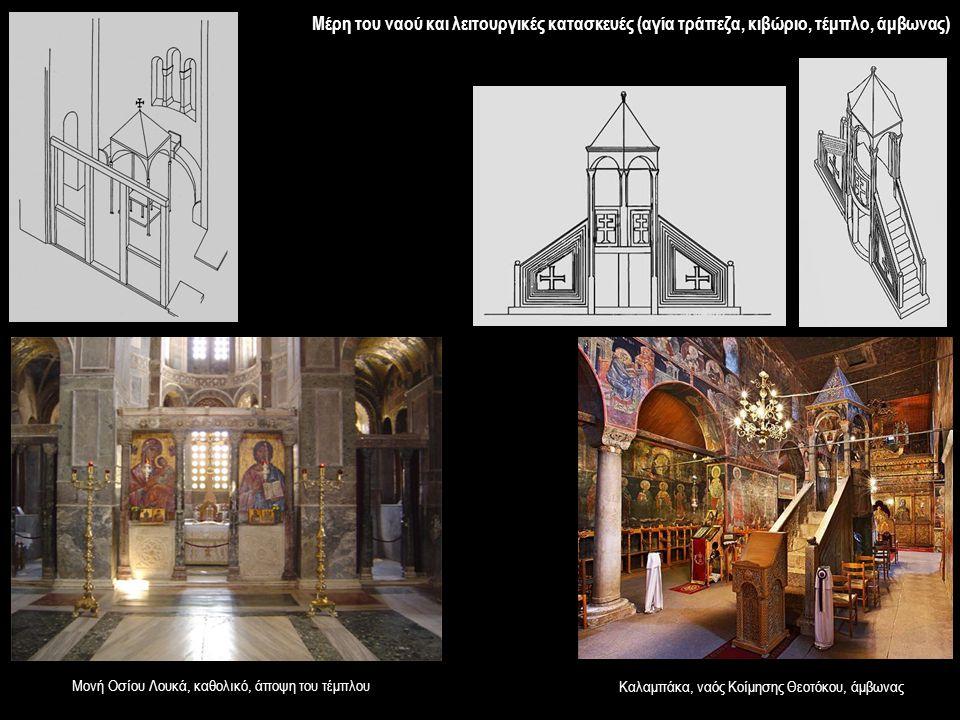 Μέρη του ναού και λειτουργικές κατασκευές (αγία τράπεζα, κιβώριο, τέμπλο, άμβωνας)