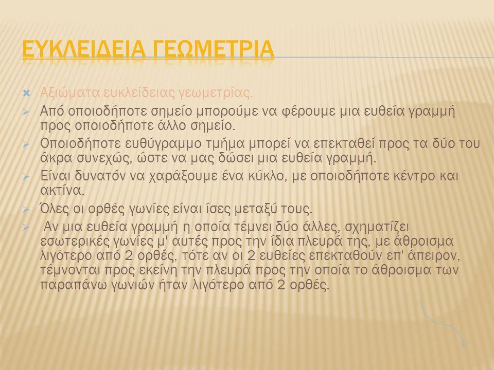Ευκλειδεια Γεωμετρια Αξιώματα ευκλείδειας γεωμετρίας.
