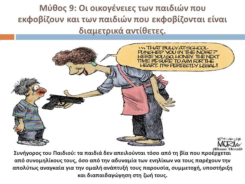 Μύθος 9: Οι οικογένειες των παιδιών που εκφοβίζουν και των παιδιών που εκφοβίζονται είναι διαμετρικά αντίθετες.