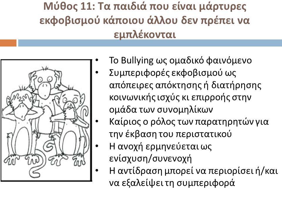 Μύθος 11: Τα παιδιά που είναι μάρτυρες εκφοβισμού κάποιου άλλου δεν πρέπει να εμπλέκονται