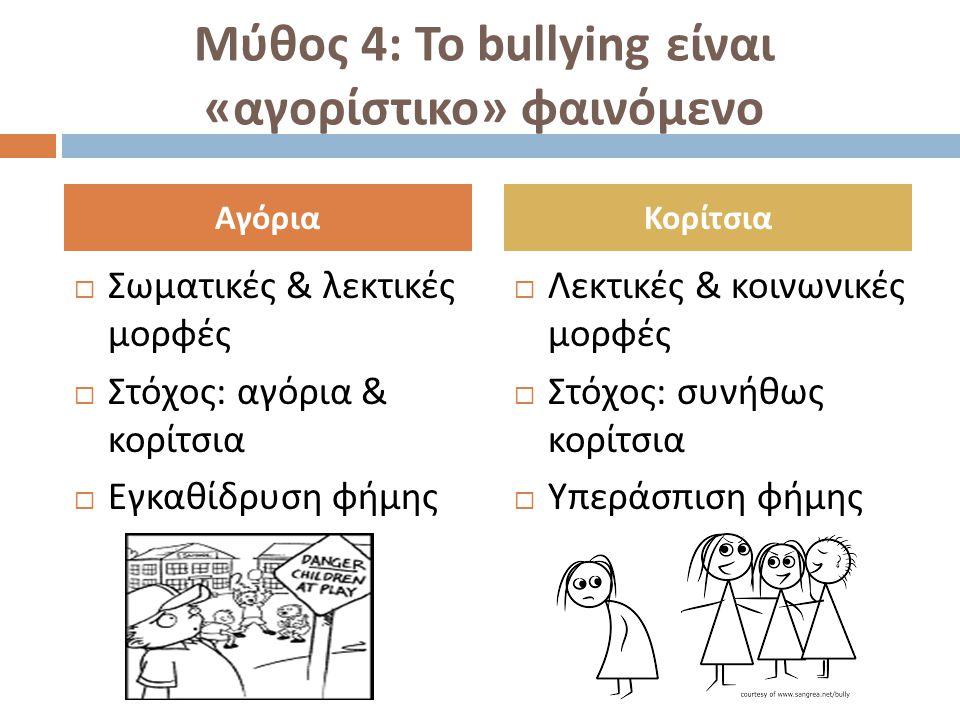 Μύθος 4: Το bullying είναι «αγορίστικο» φαινόμενο