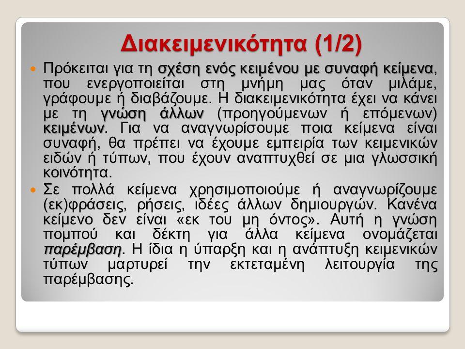 Διακειμενικότητα (1/2)