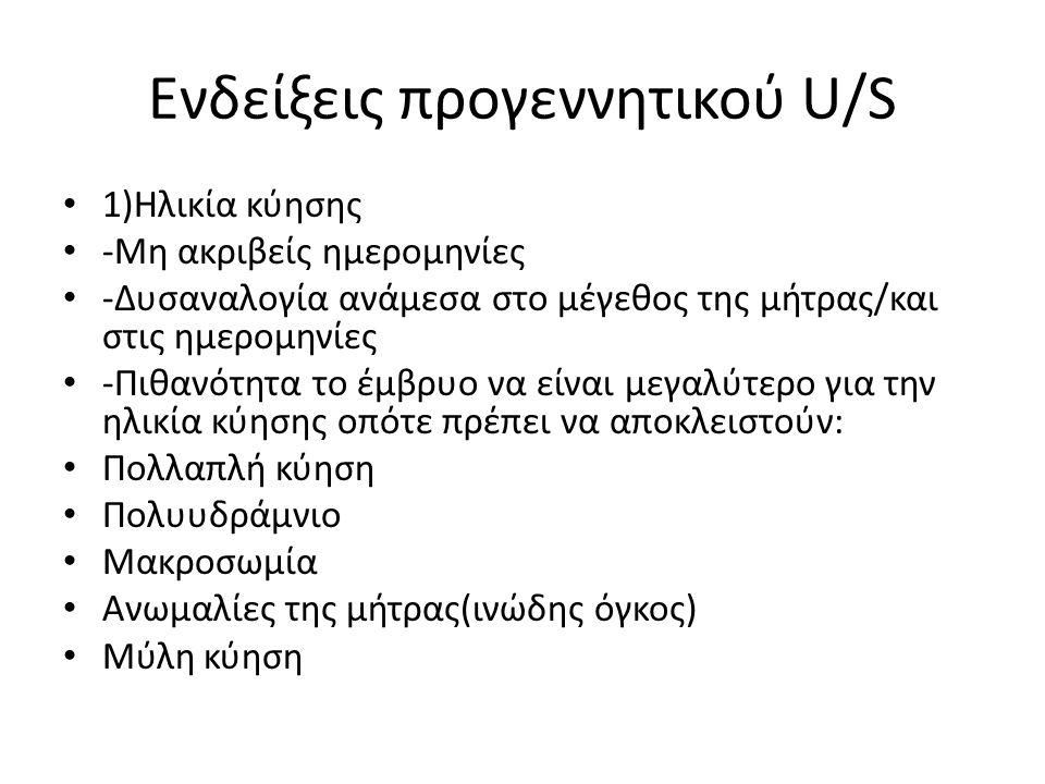 Ενδείξεις προγεννητικού U/S
