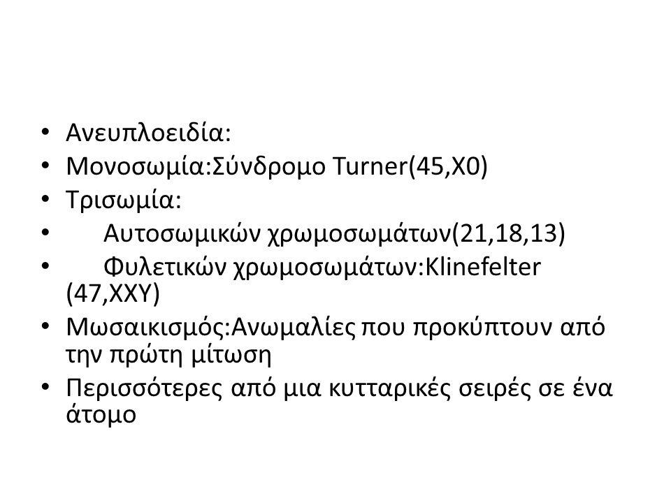 Ανευπλοειδία: Μονοσωμία:Σύνδρομο Turner(45,X0) Τρισωμία: Αυτοσωμικών χρωμοσωμάτων(21,18,13) Φυλετικών χρωμοσωμάτων:Κlinefelter (47,XXY)
