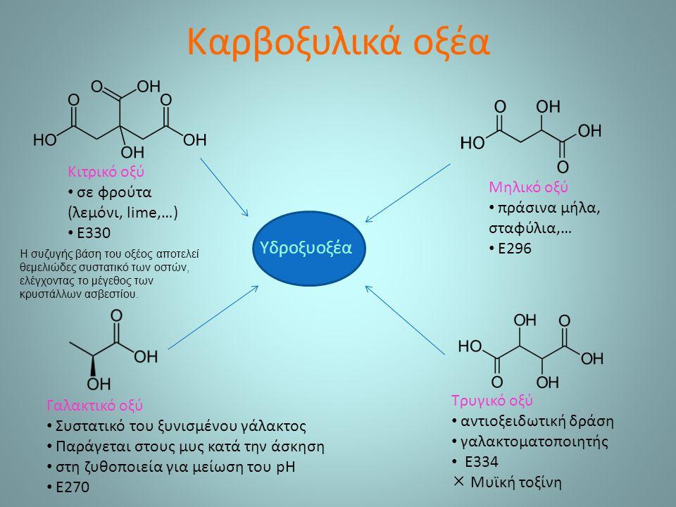 Καρβοξυλικά οξέα Υδροξυοξέα Κιτρικό οξύ σε φρούτα (λεμόνι, lime,…)