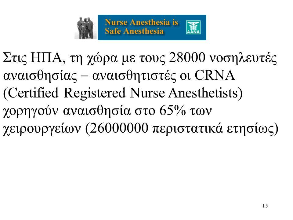Στις ΗΠΑ, τη χώρα με τους 28000 νοσηλευτές αναισθησίας  αναισθητιστές οι CRNA (Certified Registered Nurse Anesthetists) χορηγούν αναισθησία στο 65% των χειρουργείων (26000000 περιστατικά ετησίως)