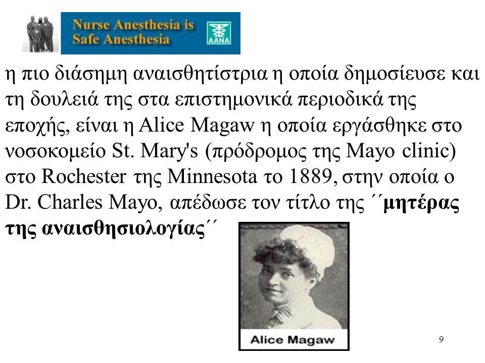 η πιο διάσημη αναισθητίστρια η οποία δημοσίευσε και τη δουλειά της στα επιστημονικά περιοδικά της εποχής, είναι η Alice Magaw η οποία εργάσθηκε στο νοσοκομείο St.