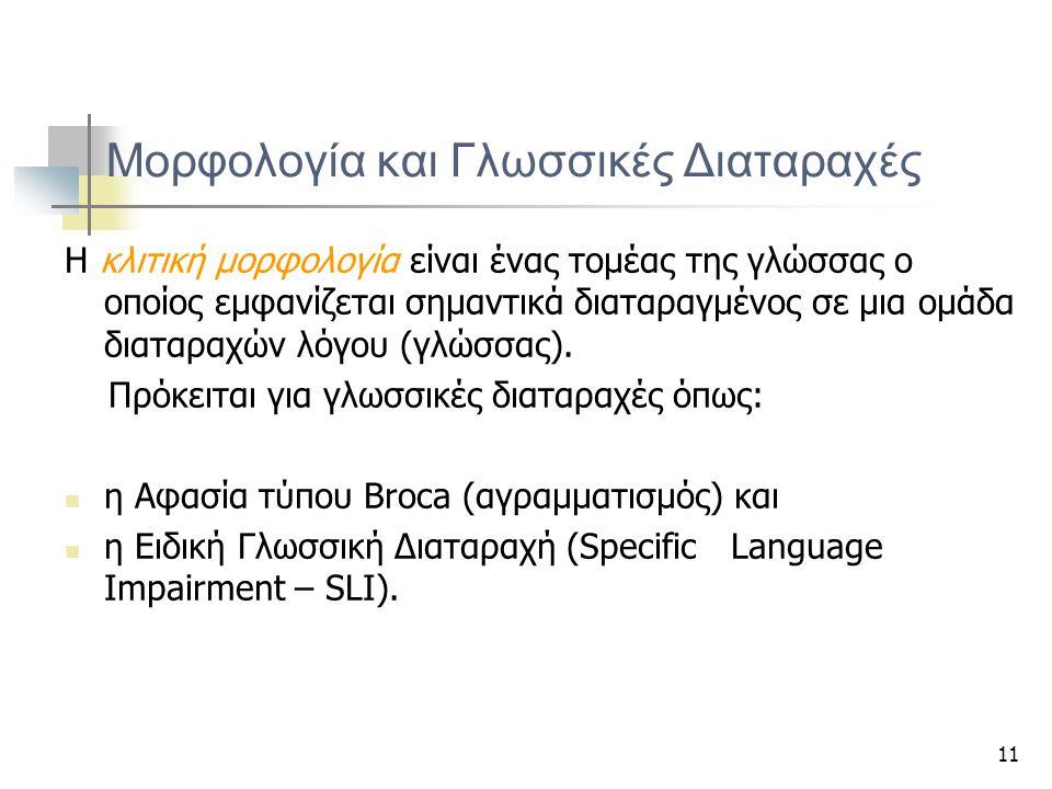Μορφολογία και Γλωσσικές Διαταραχές