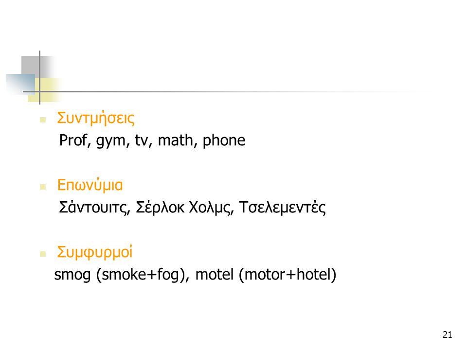 Συντμήσεις Prof, gym, tv, math, phone. Επωνύμια. Σάντουιτς, Σέρλοκ Χολμς, Τσελεμεντές. Συμφυρμοί.