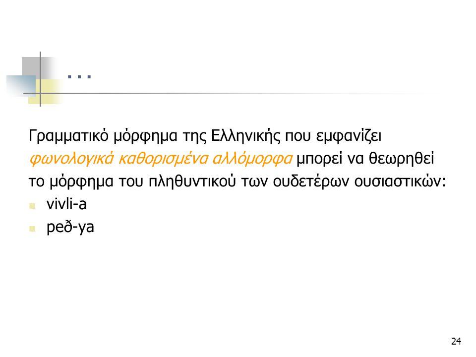 … Γραμματικό μόρφημα της Ελληνικής που εμφανίζει
