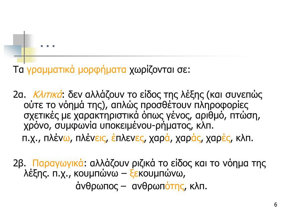 … Τα γραμματικά μορφήματα χωρίζονται σε: