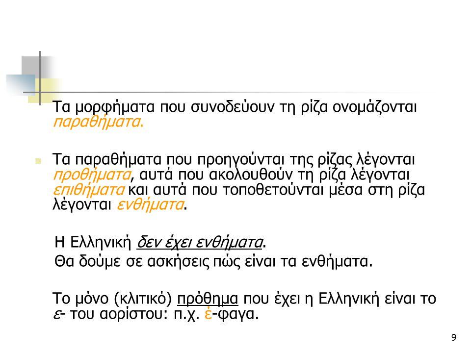 Η Ελληνική δεν έχει ενθήματα.