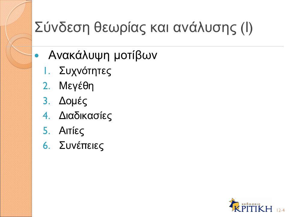 Σύνδεση θεωρίας και ανάλυσης (Ι)