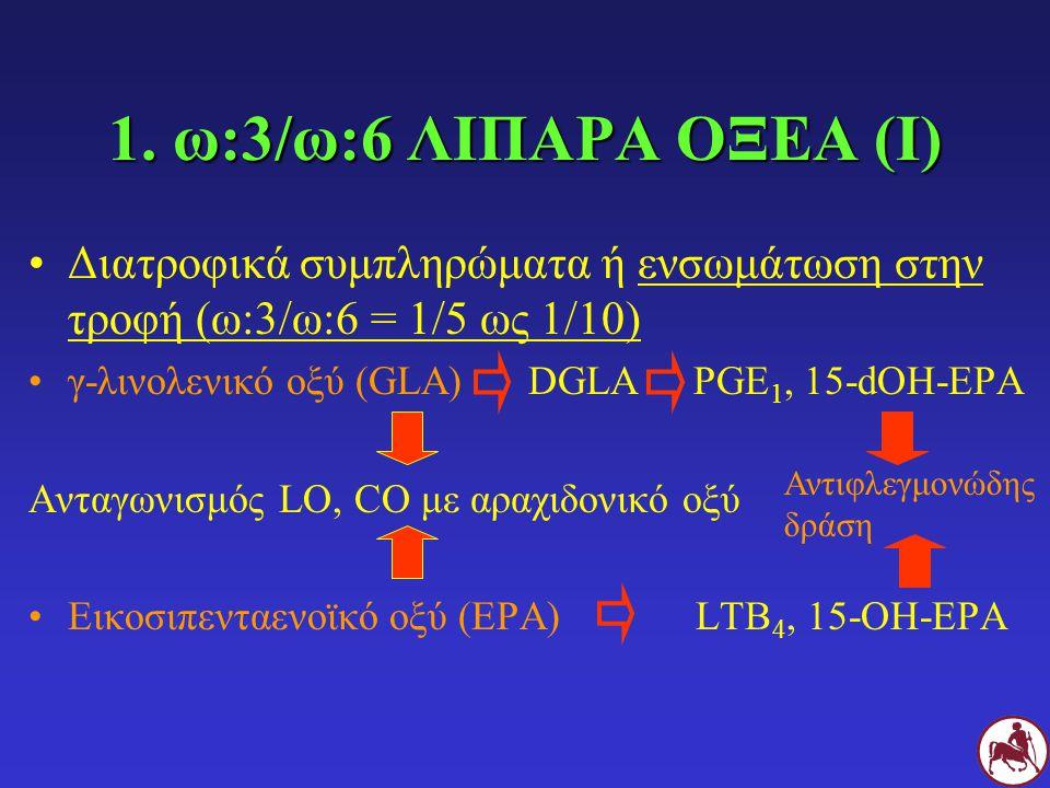 1. ω:3/ω:6 ΛΙΠΑΡΑ ΟΞΕΑ (Ι) Διατροφικά συμπληρώματα ή ενσωμάτωση στην τροφή (ω:3/ω:6 = 1/5 ως 1/10)
