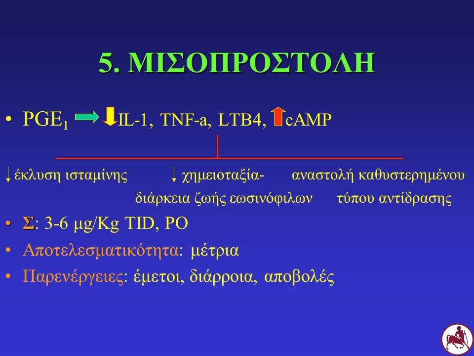 5. ΜΙΣΟΠΡΟΣΤΟΛΗ PGE1 IL-1, TNF-a, LTB4, cAMP