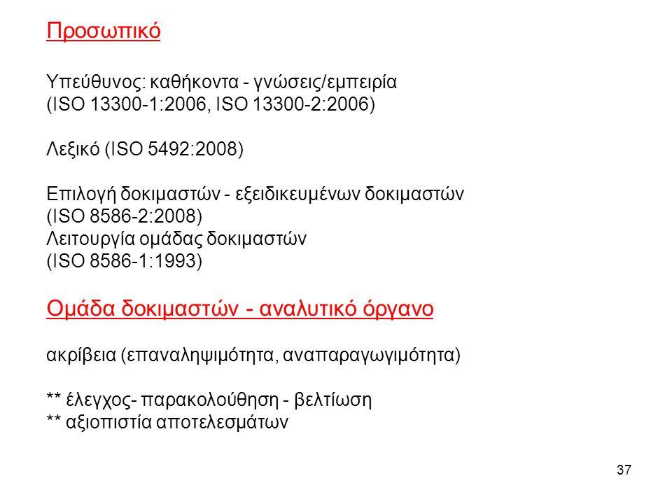 Προσωπικό Υπεύθυνος: καθήκοντα - γνώσεις/εμπειρία (ISO 13300-1:2006, ISO 13300-2:2006) Λεξικό (ISO 5492:2008) Επιλογή δοκιμαστών - εξειδικευμένων δοκιμαστών (ISO 8586-2:2008) Λειτουργία ομάδας δοκιμαστών (ISO 8586-1:1993) Ομάδα δοκιμαστών - αναλυτικό όργανο ακρίβεια (επαναληψιμότητα, αναπαραγωγιμότητα) ** έλεγχος- παρακολούθηση - βελτίωση ** αξιοπιστία αποτελεσμάτων