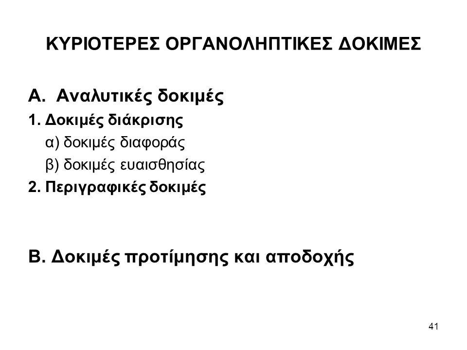 ΚΥΡΙΟΤΕΡΕΣ ΟΡΓΑΝΟΛΗΠΤΙΚΕΣ ΔΟΚΙΜΕΣ