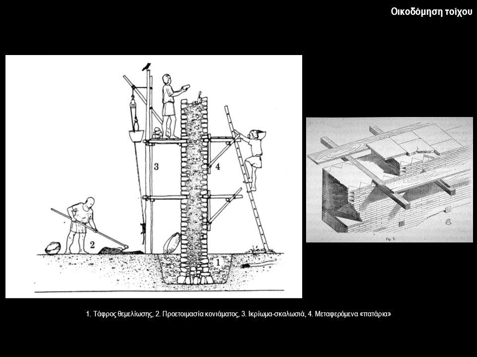 Οικοδόμηση τοίχου 1. Τάφρος θεμελίωσης, 2. Προετοιμασία κονιάματος, 3.