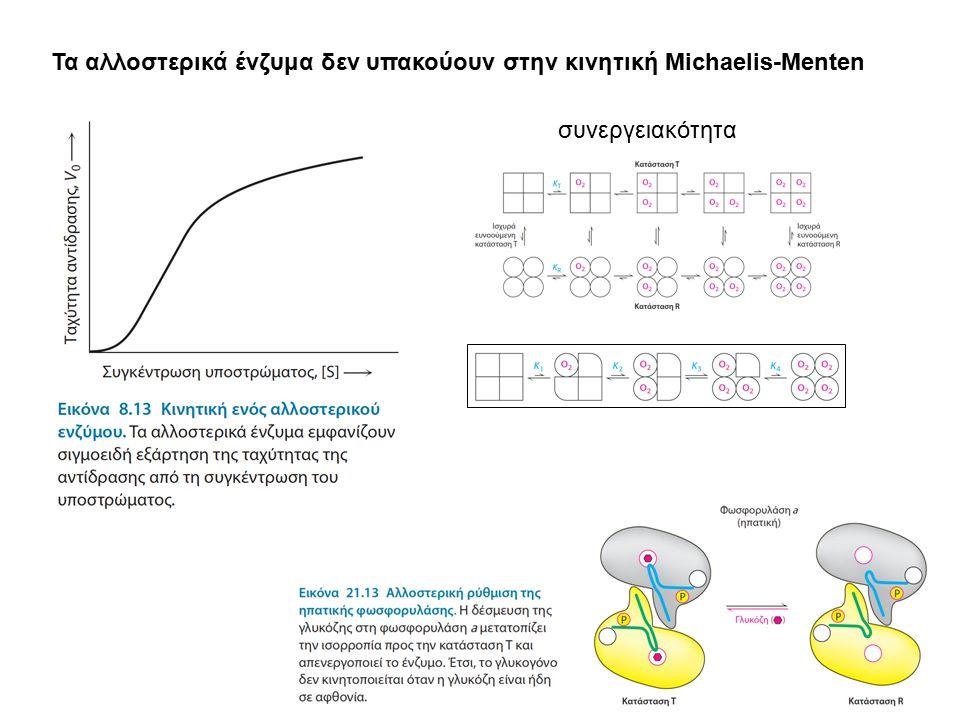 Τα αλλοστερικά ένζυμα δεν υπακούουν στην κινητική Michaelis-Menten