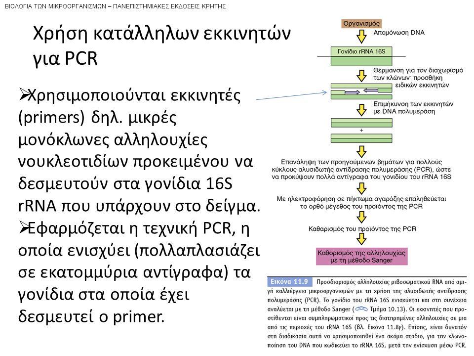 Χρήση κατάλληλων εκκινητών για PCR