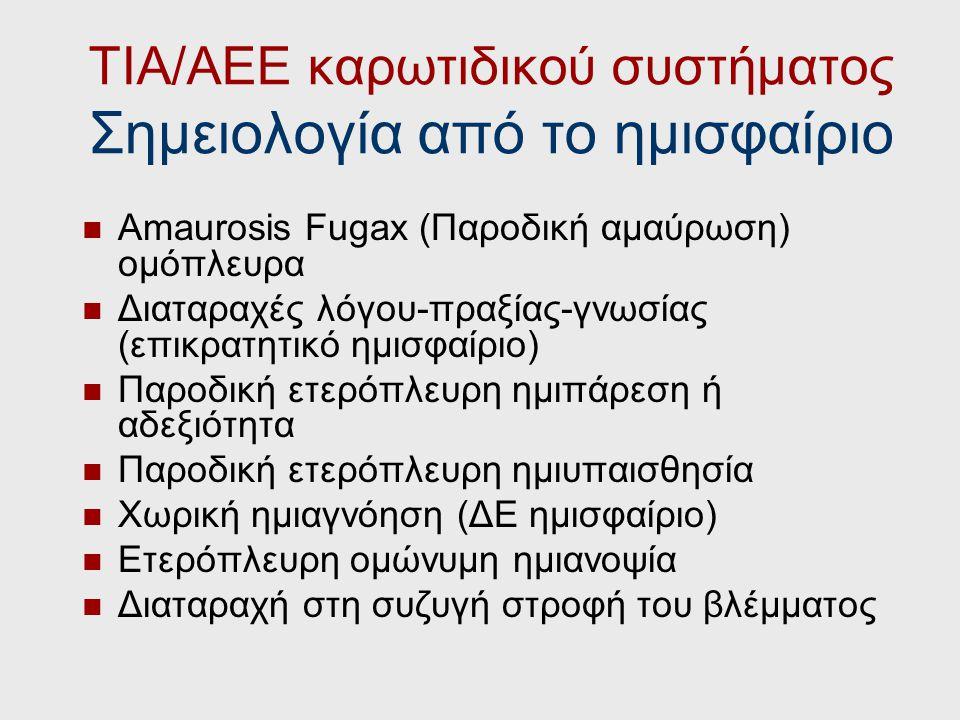 ΤΙΑ/ΑΕΕ καρωτιδικού συστήματος Σημειολογία από το ημισφαίριο