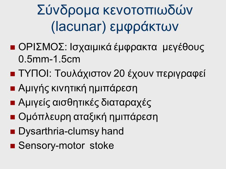 Σύνδρομα κενοτοπιωδών (lacunar) εμφράκτων