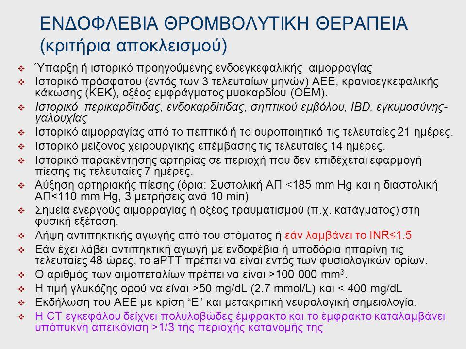 ΕΝΔΟΦΛΕΒΙΑ ΘΡΟΜΒΟΛΥΤΙΚΗ ΘΕΡΑΠΕΙΑ (κριτήρια αποκλεισμού)
