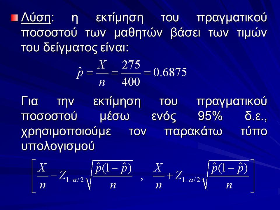 Λύση: η εκτίμηση του πραγματικού ποσοστού των μαθητών βάσει των τιμών του δείγματος είναι: