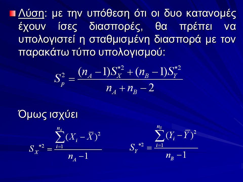 Λύση: με την υπόθεση ότι οι δυο κατανομές έχουν ίσες διασπορές, θα πρέπει να υπολογιστεί η σταθμισμένη διασπορά με τον παρακάτω τύπο υπολογισμού: