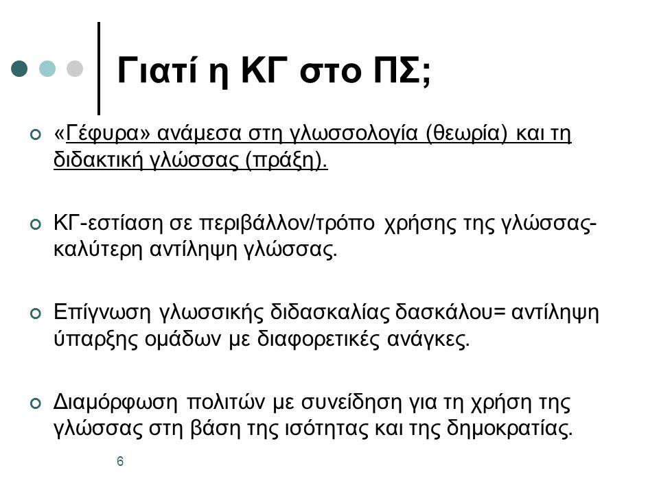 Γιατί η ΚΓ στο ΠΣ; «Γέφυρα» ανάμεσα στη γλωσσολογία (θεωρία) και τη διδακτική γλώσσας (πράξη).