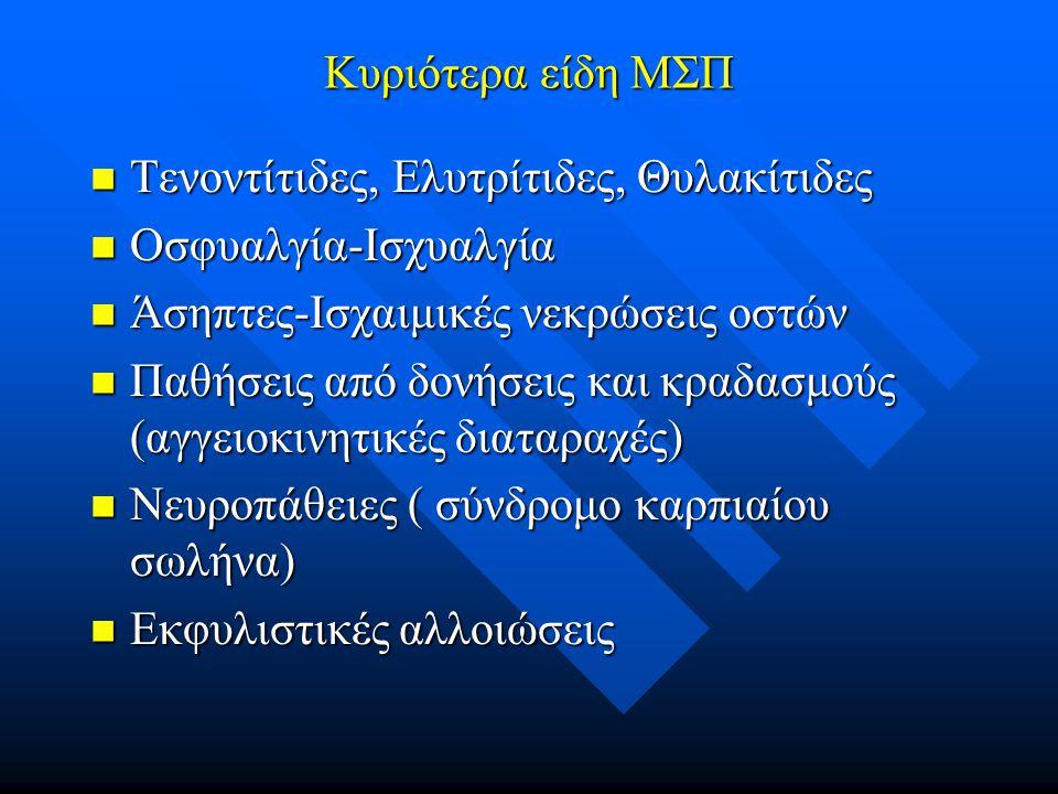 Κυριότερα είδη ΜΣΠ Τενοντίτιδες, Ελυτρίτιδες, Θυλακίτιδες. Οσφυαλγία-Ισχυαλγία. Άσηπτες-Ισχαιμικές νεκρώσεις οστών.