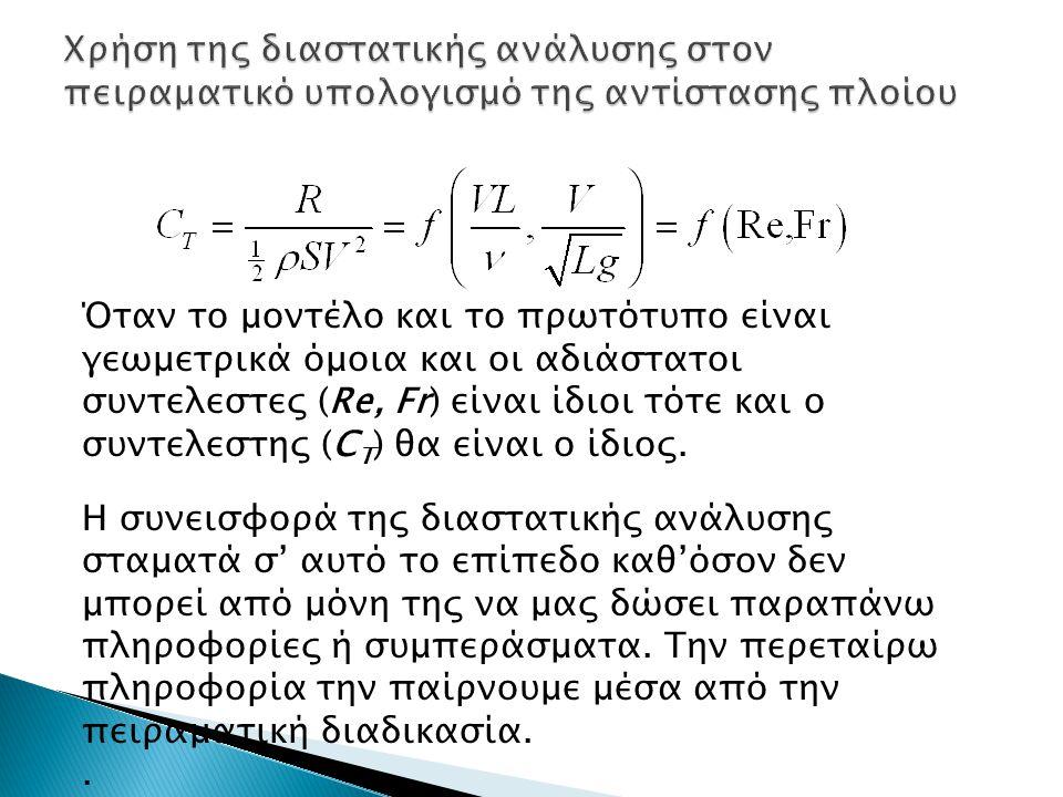 Χρήση της διαστατικής ανάλυσης στον πειραματικό υπολογισμό της αντίστασης πλοίου