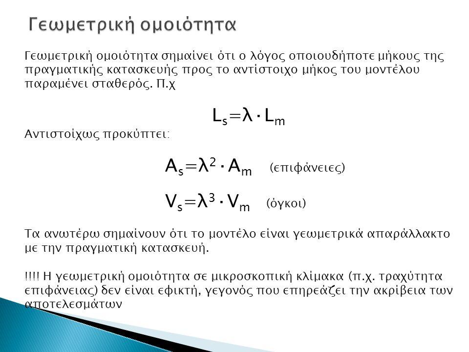Γεωμετρική ομοιότητα Ls=λ·Lm Αs=λ2·Αm (επιφάνειες) Vs=λ3·Vm (όγκοι)