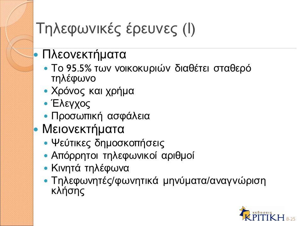 Τηλεφωνικές έρευνες (Ι)