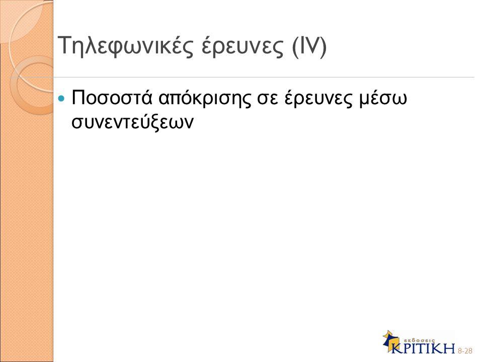 Τηλεφωνικές έρευνες (ΙV)