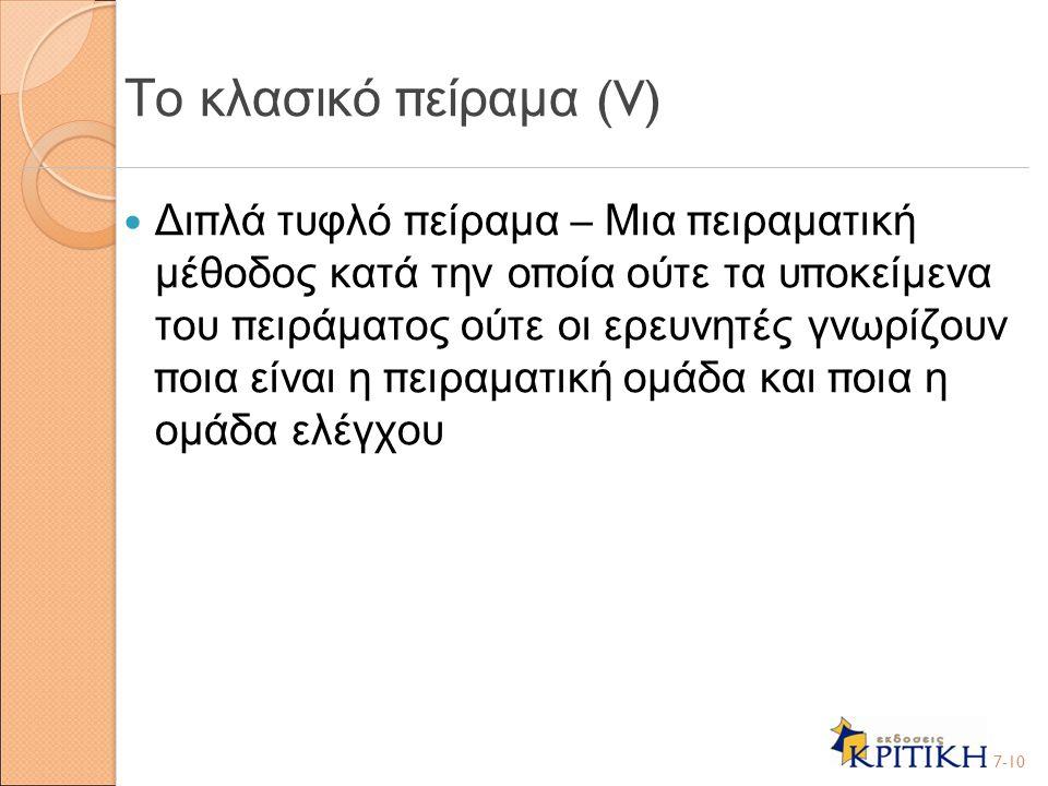 Το κλασικό πείραμα (V)