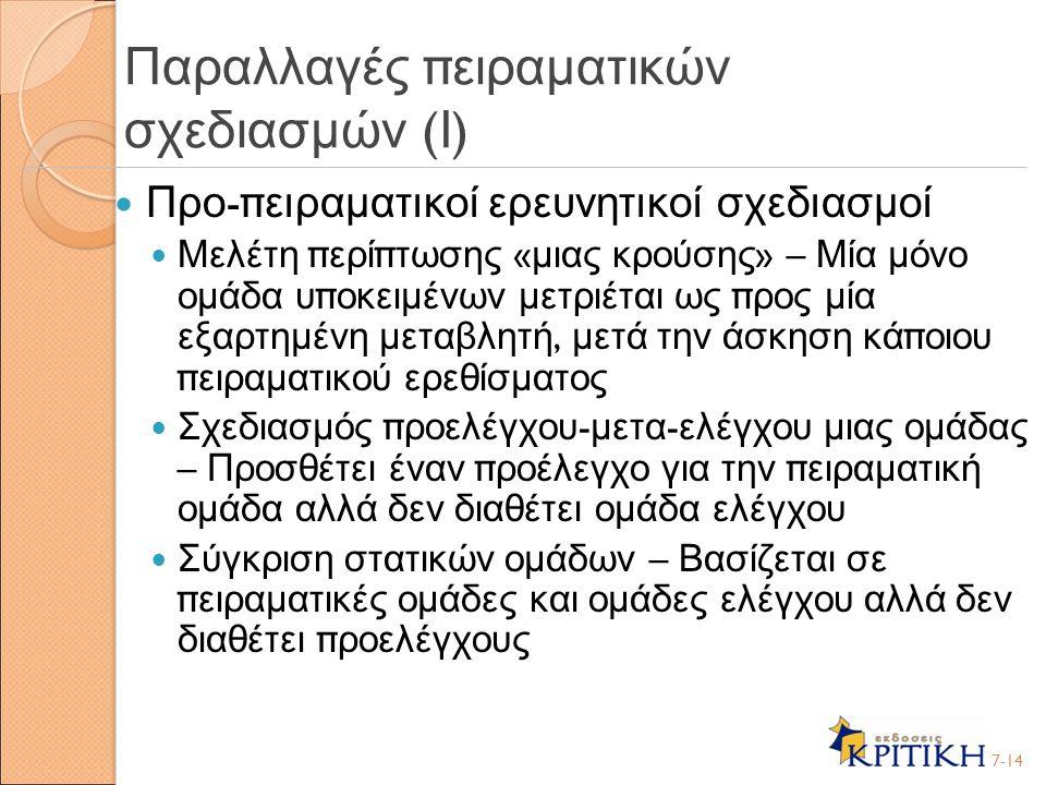Παραλλαγές πειραματικών σχεδιασμών (Ι)
