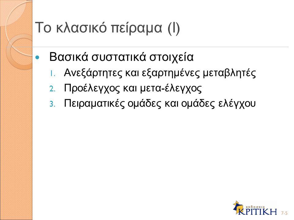 Το κλασικό πείραμα (Ι) Βασικά συστατικά στοιχεία